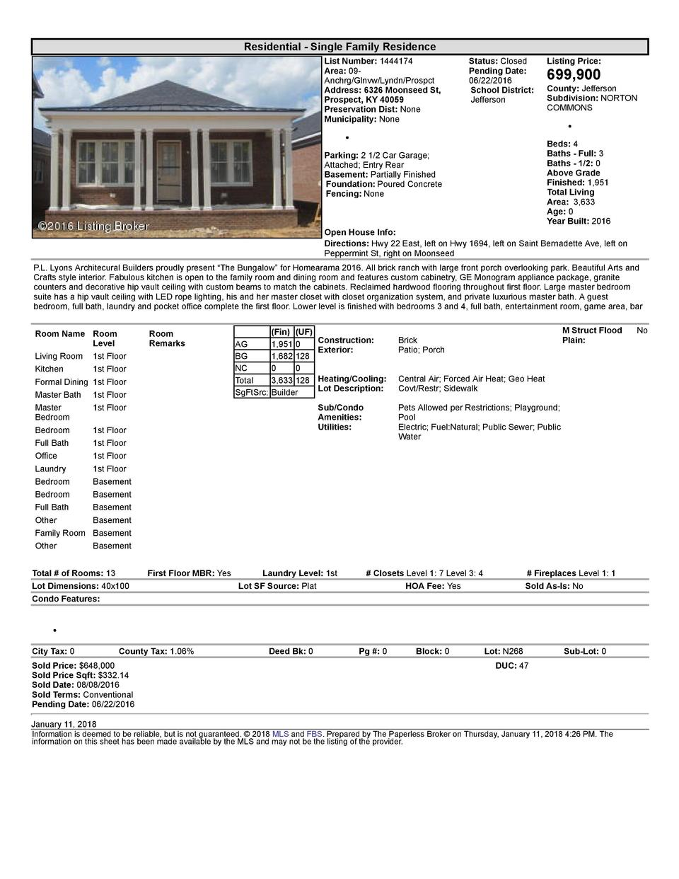 Residential      Single  Family  Residence List  Number   1444174 Area   09   Anchrg Glnvw Lyndn Prospct Address   6326...