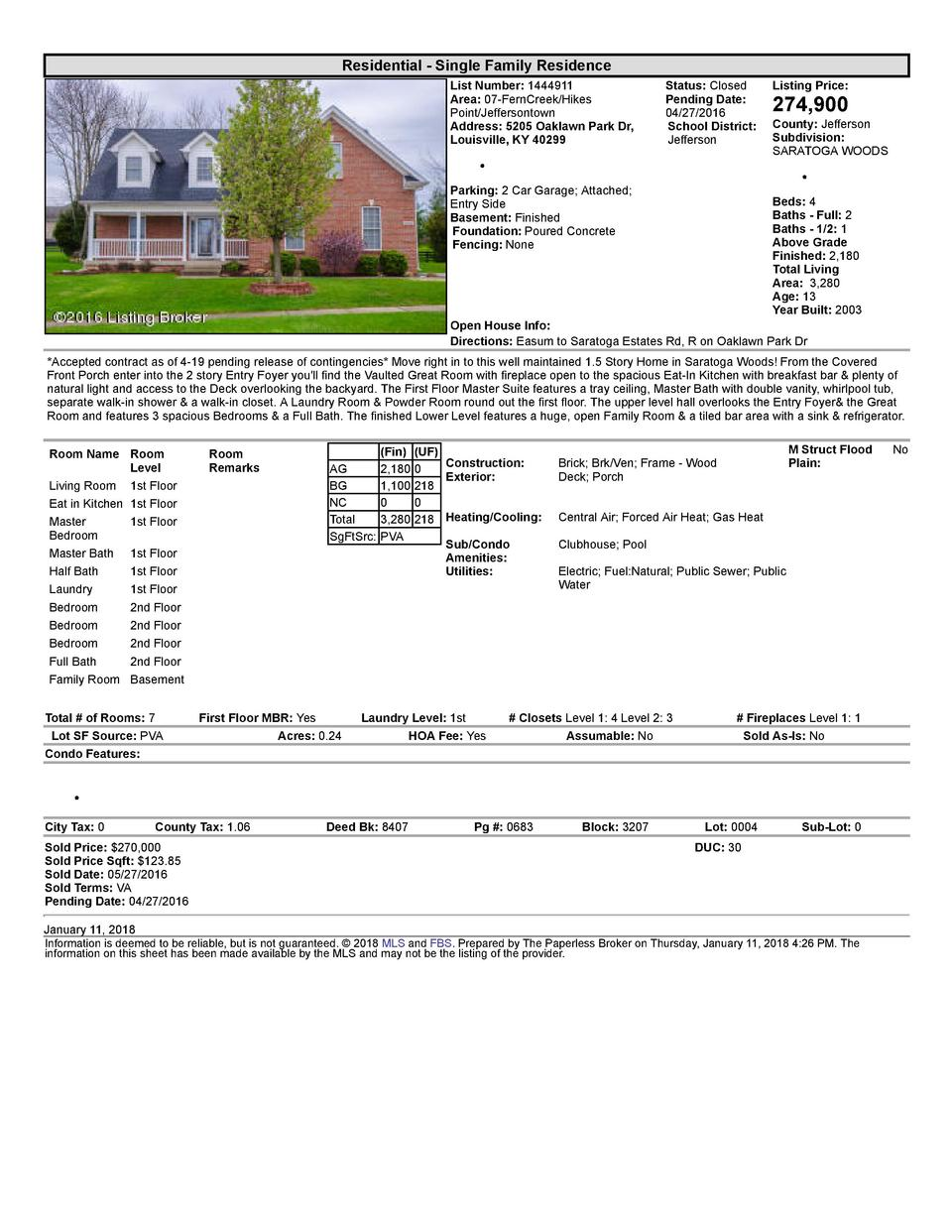 Residential      Single  Family  Residence List  Number   1444911 Area   07  FernCreek Hikes Point Jeffersontown Addres...