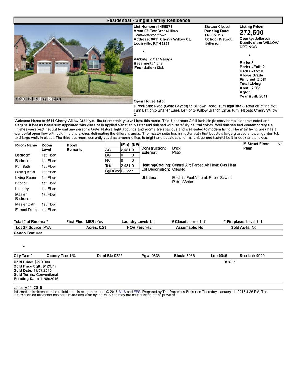 Residential      Single  Family  Residence List  Number   1456875 Area   07  FernCreek Hikes Point Jeffersontown Addres...