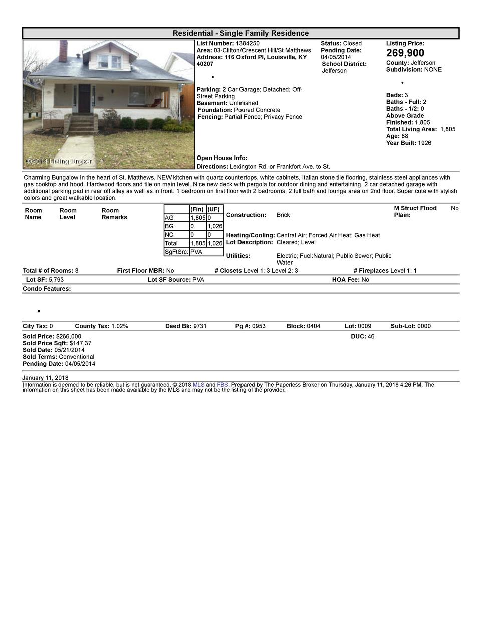 Residential      Single  Family  Residence List  Number   1384250 Area   03  Clifton Crescent  Hill St  Matthews Addres...