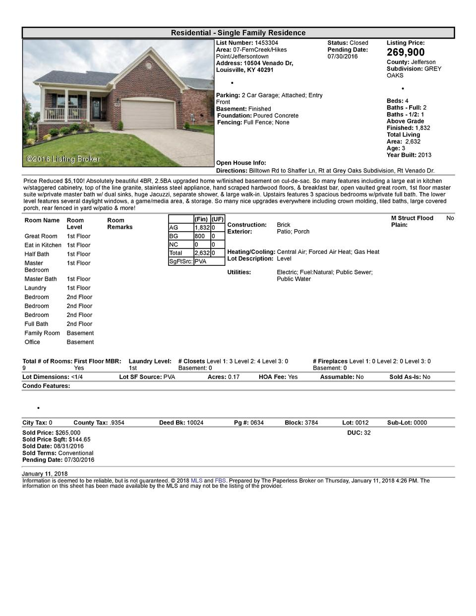Residential      Single  Family  Residence List  Number   1453304 Area   07  FernCreek Hikes Point Jeffersontown Addres...