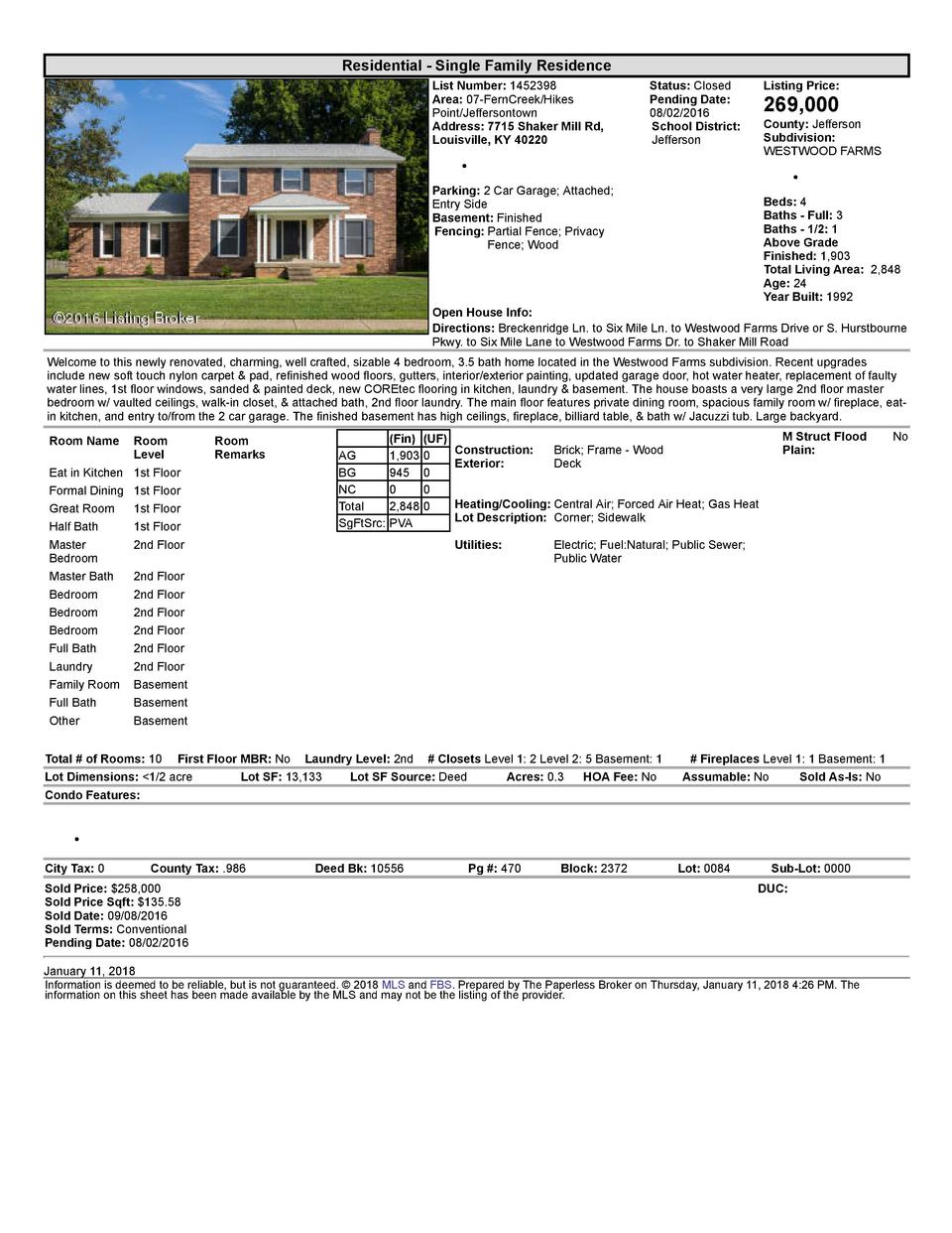 Residential      Single  Family  Residence List  Number   1452398 Area   07  FernCreek Hikes Point Jeffersontown Addres...