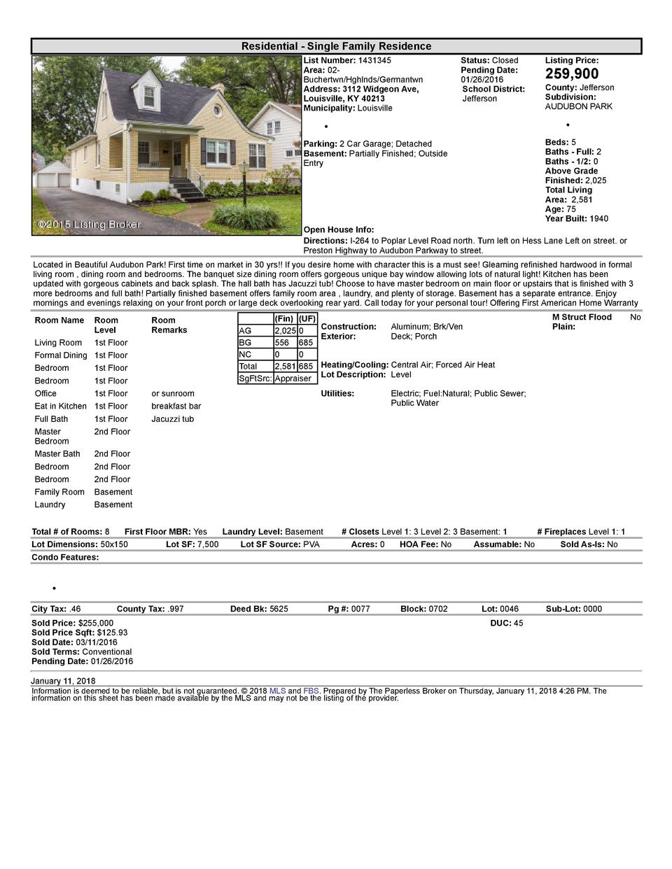 Residential      Single  Family  Residence List  Number   1431345 Area   02   Buchertwn Hghlnds Germantwn Address   311...