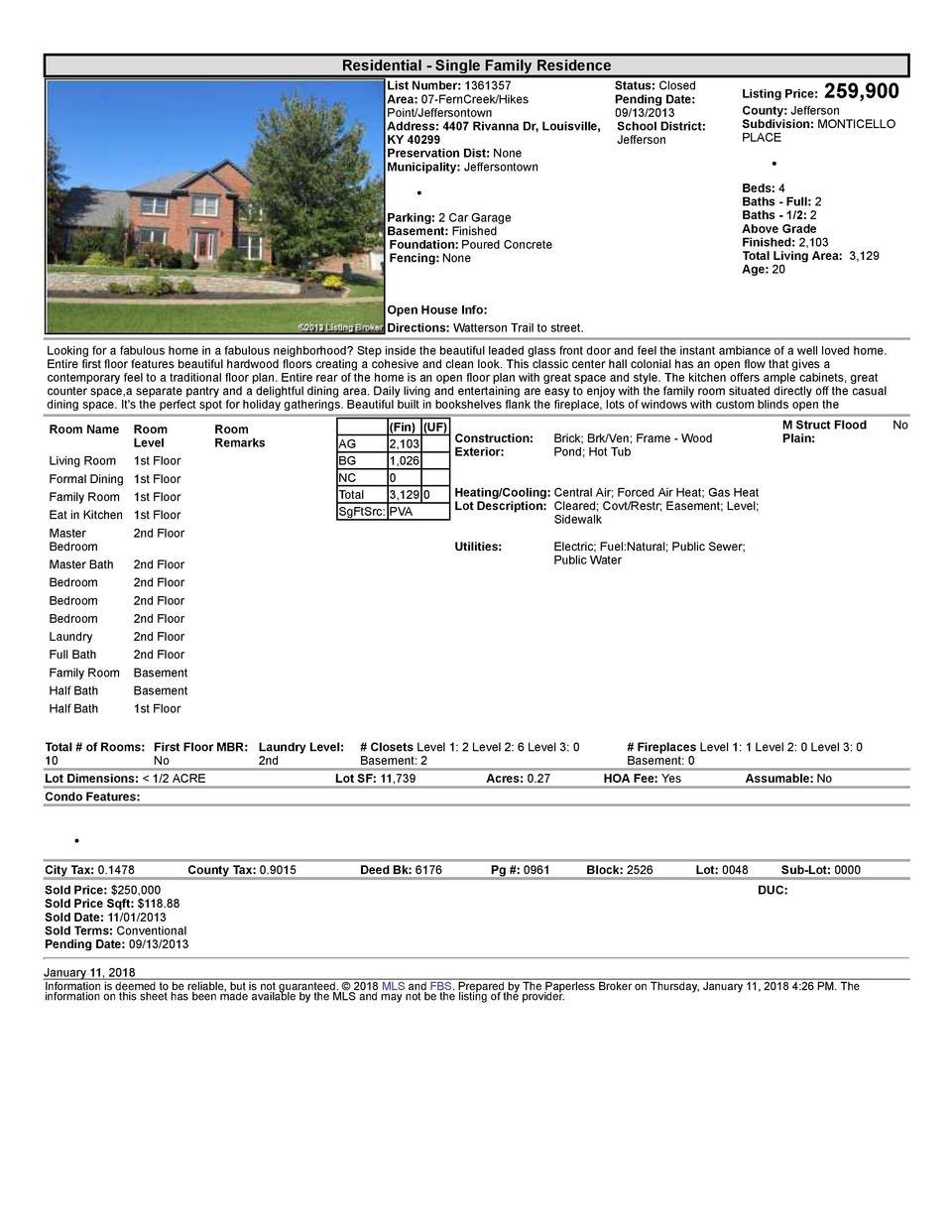 Residential      Single  Family  Residence List  Number   1361357    Status   Closed Area   07  FernCreek Hikes Pending...