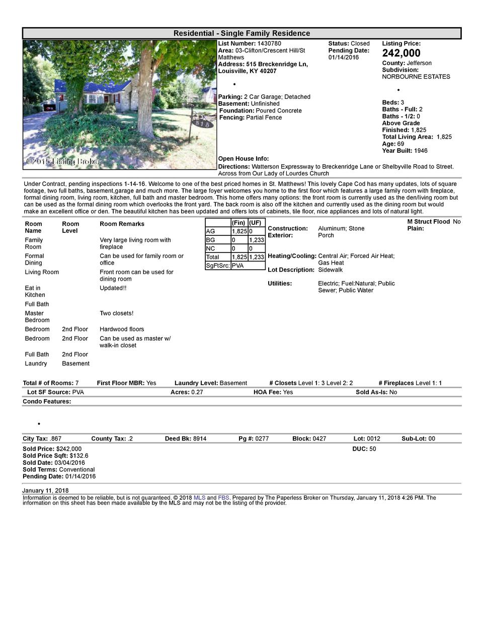 Residential      Single  Family  Residence List  Number   1430780 Area   03  Clifton Crescent  Hill St Matthews Address...