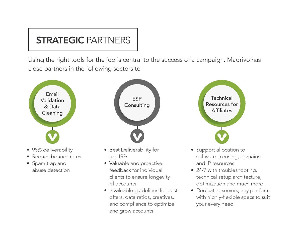STRATEGIC PARTNERS Using the right tools for the job is central to the success of a campaign. Madrivo has close partners i...