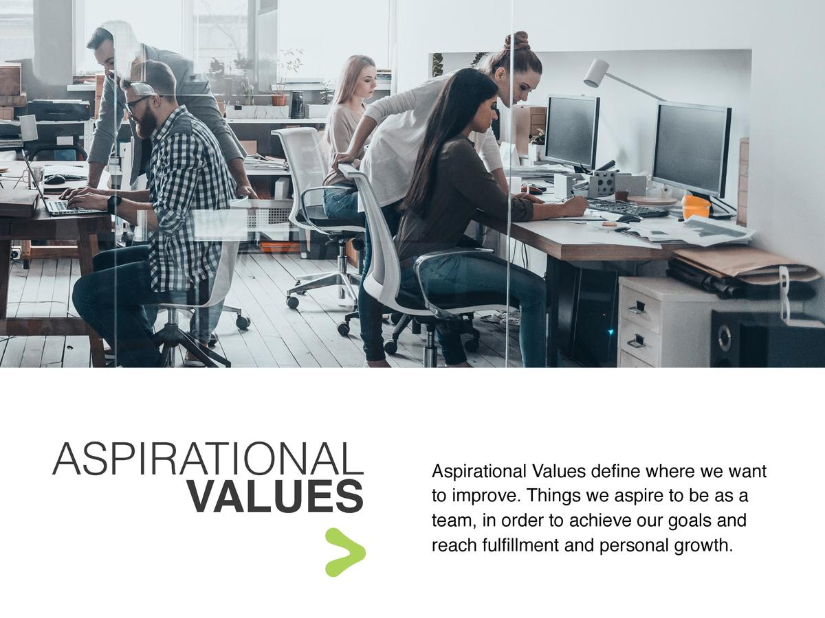 ASPIRATIONAL VALUES  Aspirational Values define where we want to improve. Things we aspire to be as a team, in order to ac...