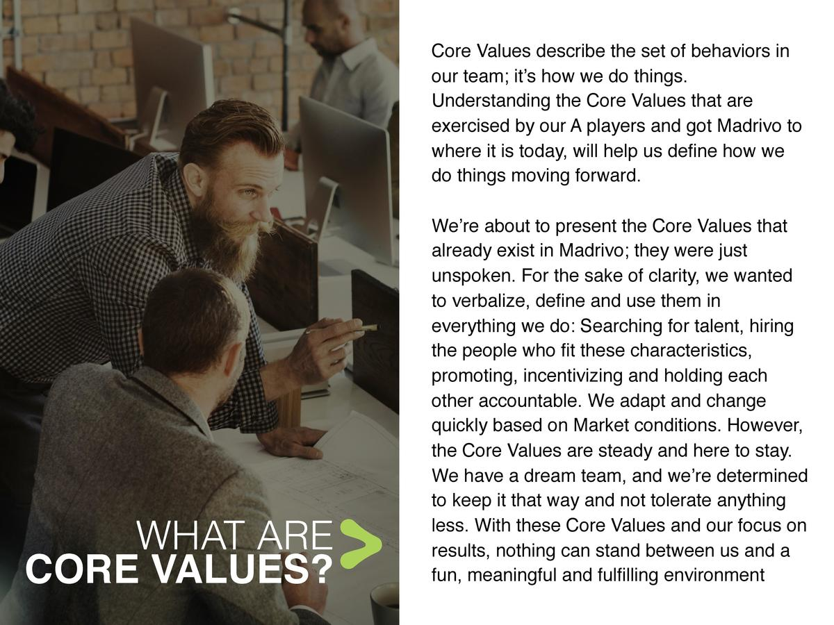Core Values describe the set of behaviors in our team  it   s how we do things. Understanding the Core Values that are exe...