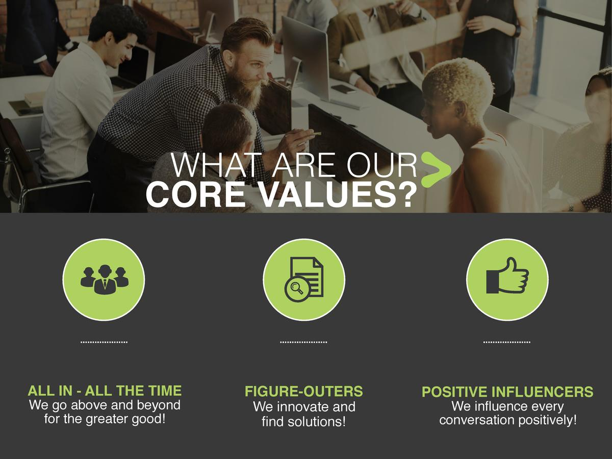 WHAT ARE OUR  CORE VALUES   ALL IN - ALL THE TIME We go above and beyond for the greater good   FIGURE-OUTERS We innovate ...