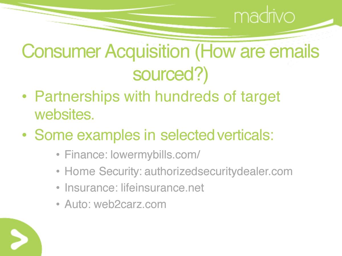 Consumer Acquisition  How are emails sourced       Partnerships with hundreds of target websites.     Some examples in sel...