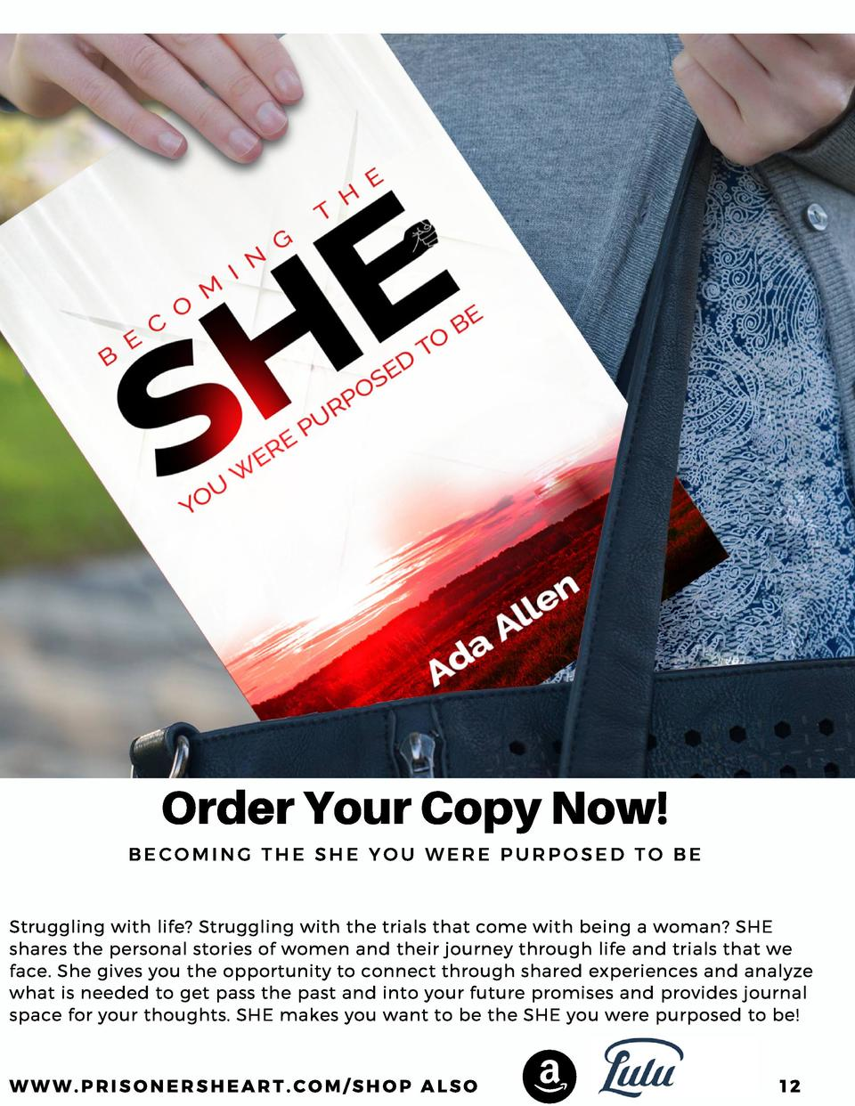Order Your Copy Now  BECOMING THE SHE YOU WERE PURPOSED TO BE  Struggling with life  Struggling with the trials that come ...