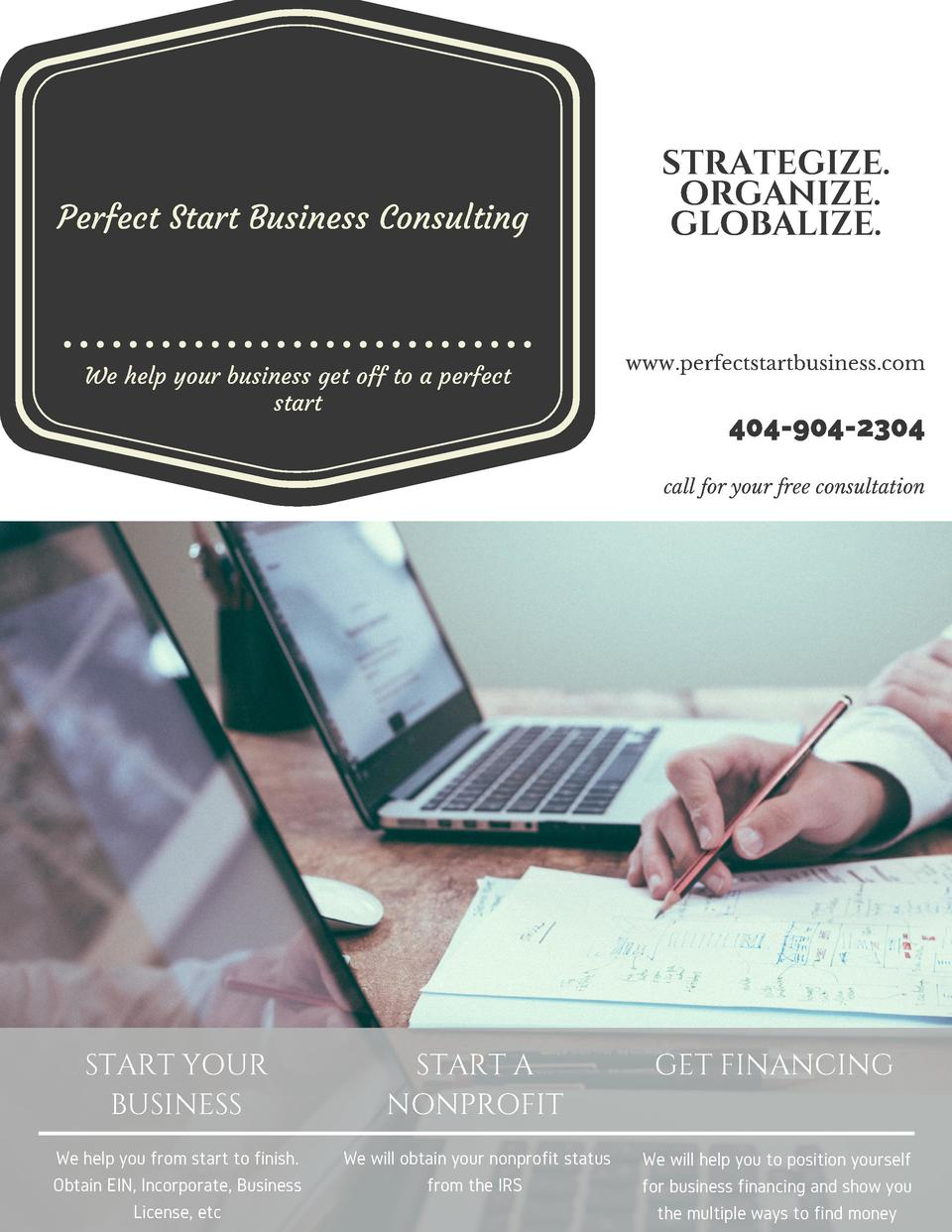 Perfect Start Business Consulting    We help your business get off to a perfect start  STRATEGIZE. ORGANIZE. GLOBALIZE.  w...
