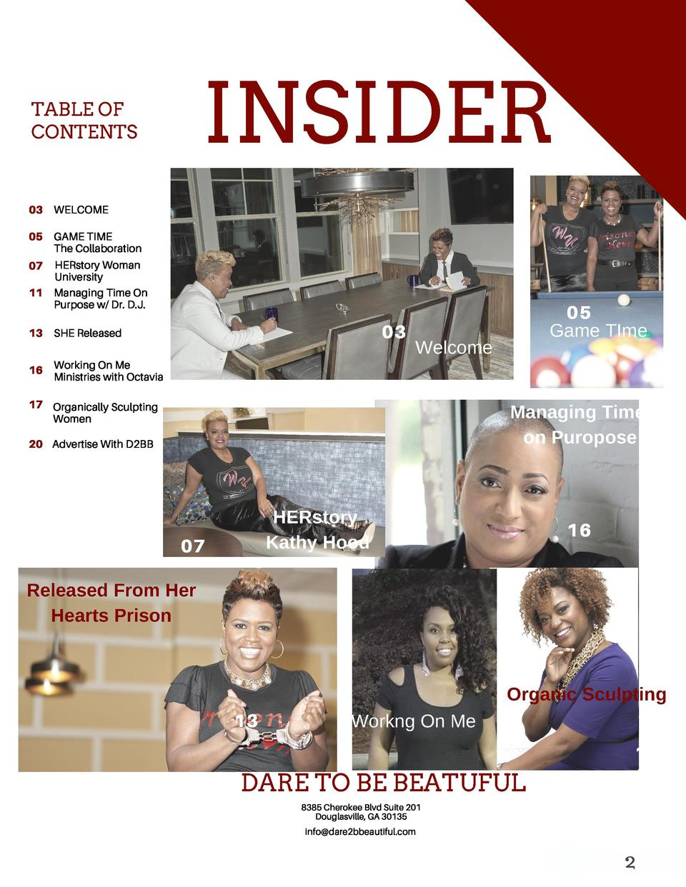 INSIDER  TABLE OF CONTENTS  03  WELCOME  05 GAME TIME The Collaboration HERstory Woman University 11 Managing Time On Purp...