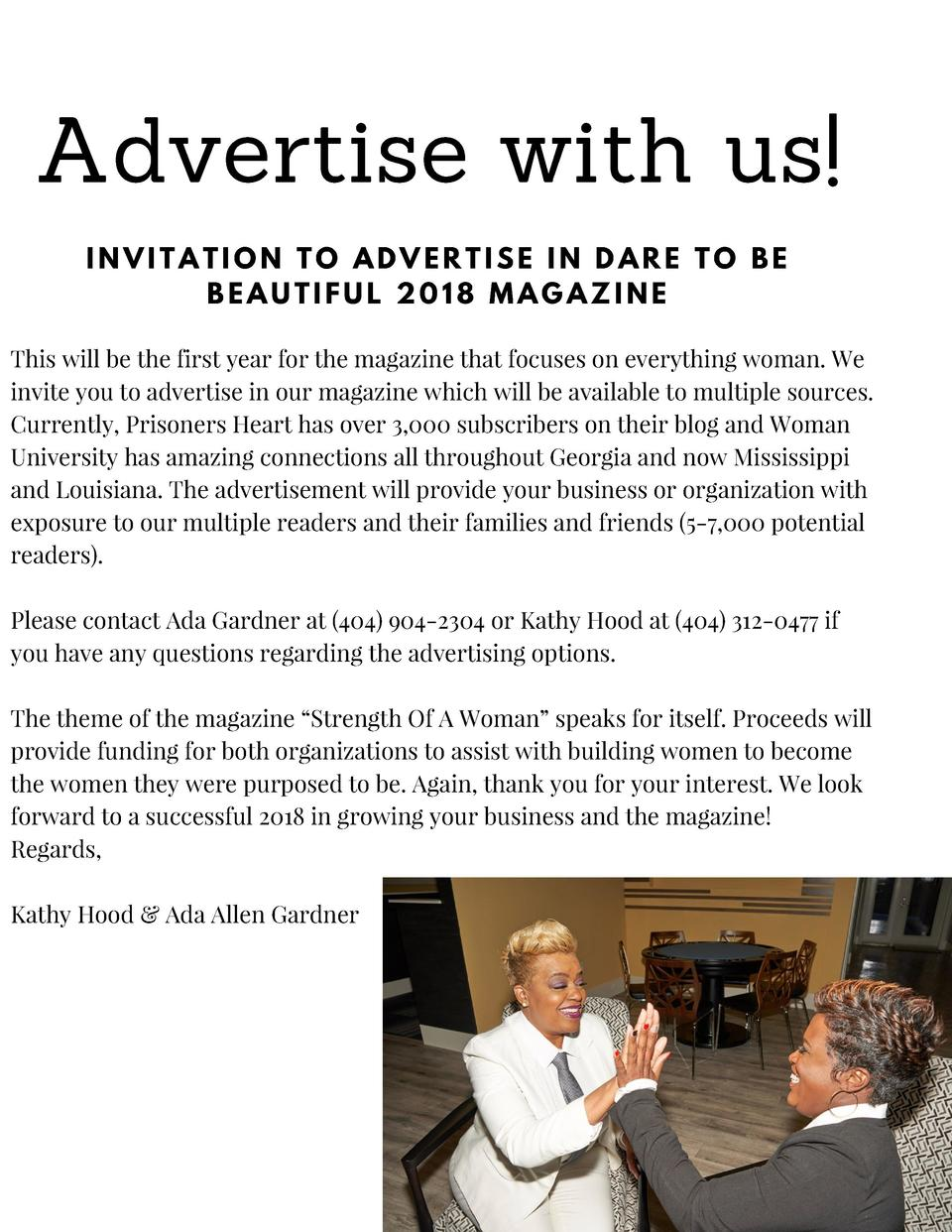 Advertise with us  INVITATION TO ADVERTISE IN DARE TO BE BEAUTIFUL 2018 MAGAZINE This will be the first year for the magaz...