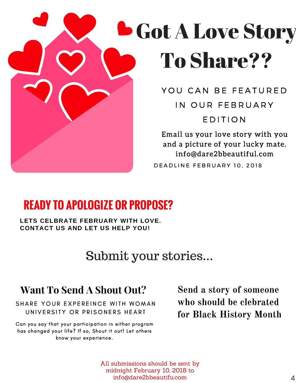 Got A Love Story To Share   YOU CAN BE FEATURED IN OUR FEBRUARY EDITION  Email us your love story with you and a picture o...