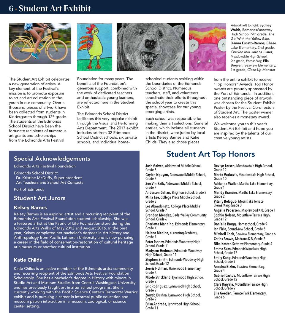 6    Student Art Exhibit Artwork left to right  Sydney Walsh, EdmondsWoodway High School, 9th grade, The Girl With the Yel...