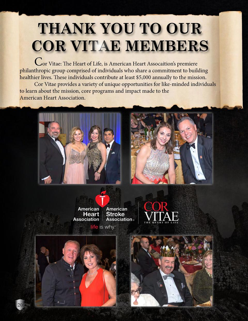 THANK YOU TO OUR COR VITAE MEMBERS   Cor Vitae  The Heart of Life, is American Heart Assocaition   s premiere  philanthrop...