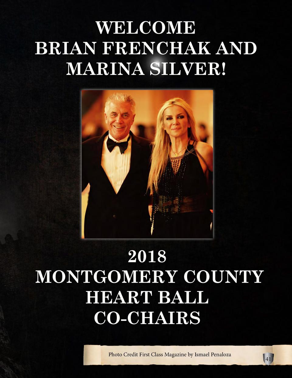 WELCOME BRIAN FRENCHAK AND MARINA SILVER   2018 MONTGOMERY COUNTY HEART BALL CO-CHAIRS Photo Credit First Class Magazine b...