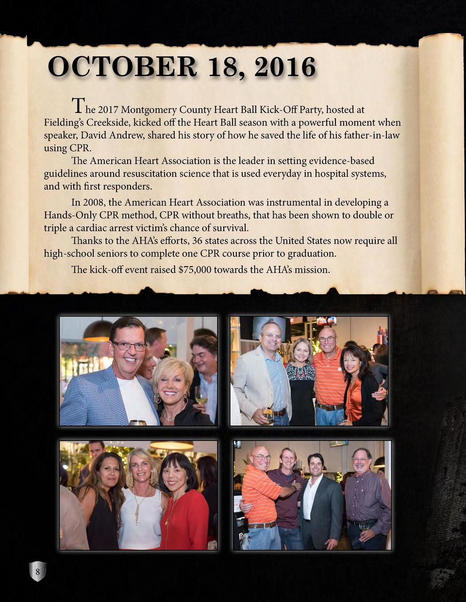 OCTOBER 18, 2016  The 2017 Montgomery County Heart Ball Kick-Off Party, hosted at  Fielding   s Creekside, kicked off the ...