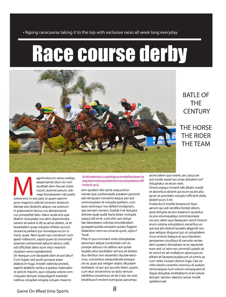 Ngong racecourse taking it to the top with exclusive races all week long everyday  Race course derby BATLE OF THE CENT...