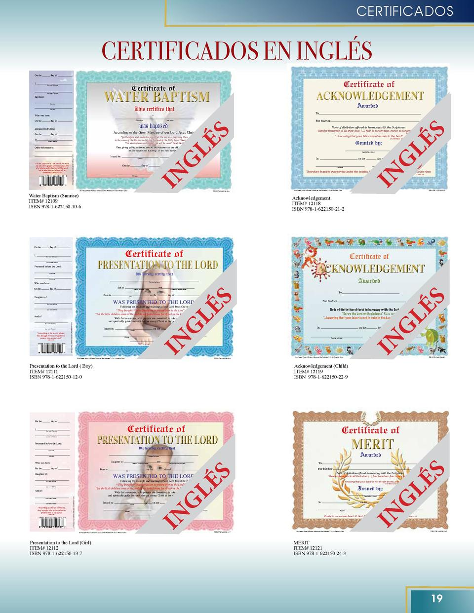 CERTIFICADOS  CERTIFICADOS EN INGL  S day of  Certificate of  WATER BAPTISM Certificate of  First name of Minister  Last n...