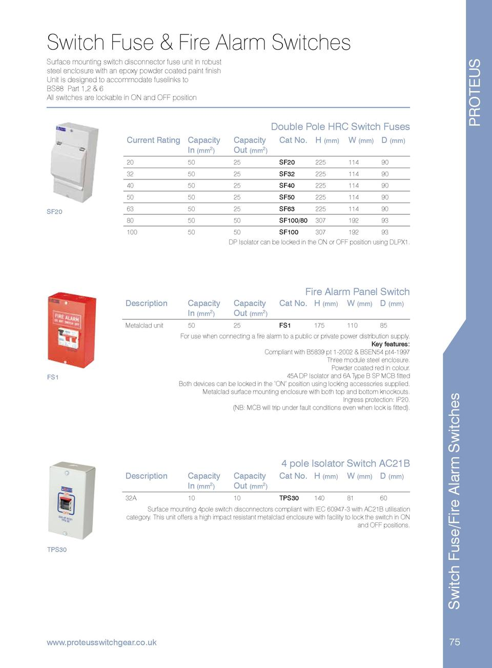 Imd Catalogue Relay Switch Halfords Fuse Fire Alarm Switches Proteus Surface Mounting Disconnector Unit In Robust Steel Enclosure