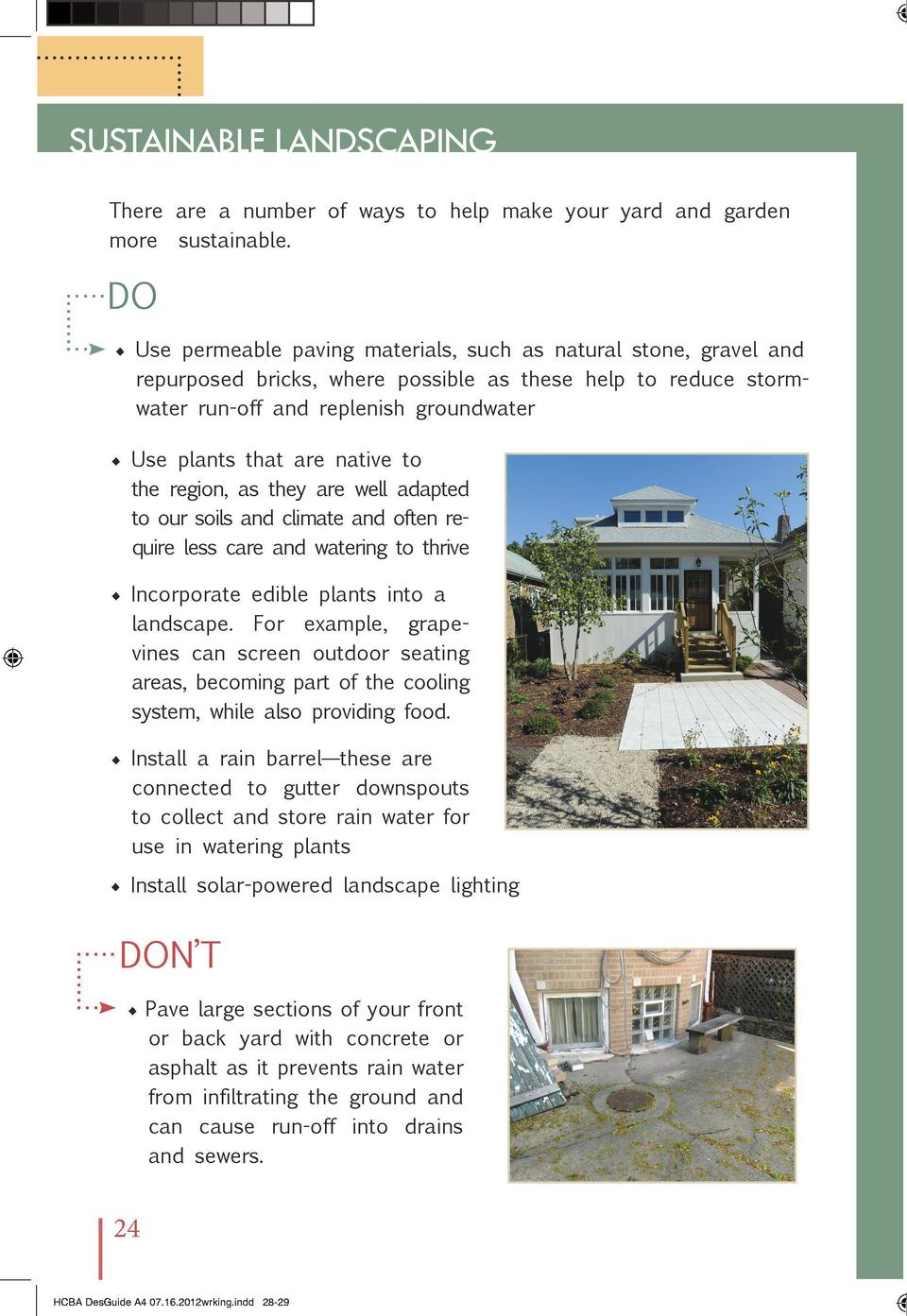 SUSTAINABLE LANDSCAPING  THE CHICAGO BUNGALOW ASSOCIATION  There are a number of ways to help make your yard and garden mo...