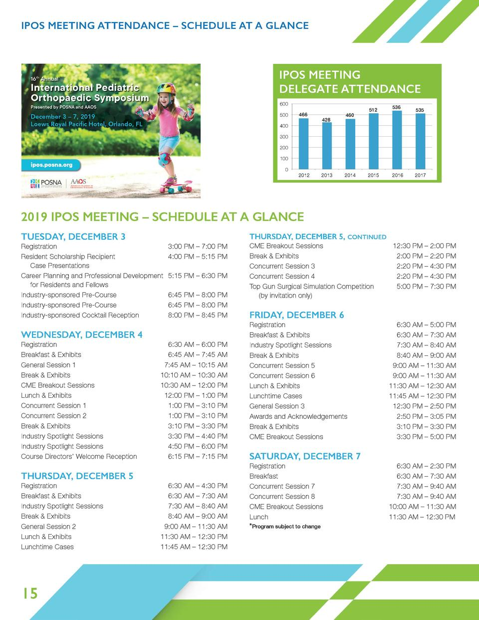 IPOS MEETING ATTENDANCE     SCHEDULE AT A GLANCE 409  466  428  460  512  536  IPOS MEETING DELEGATE ATTENDANCE 466  428  ...
