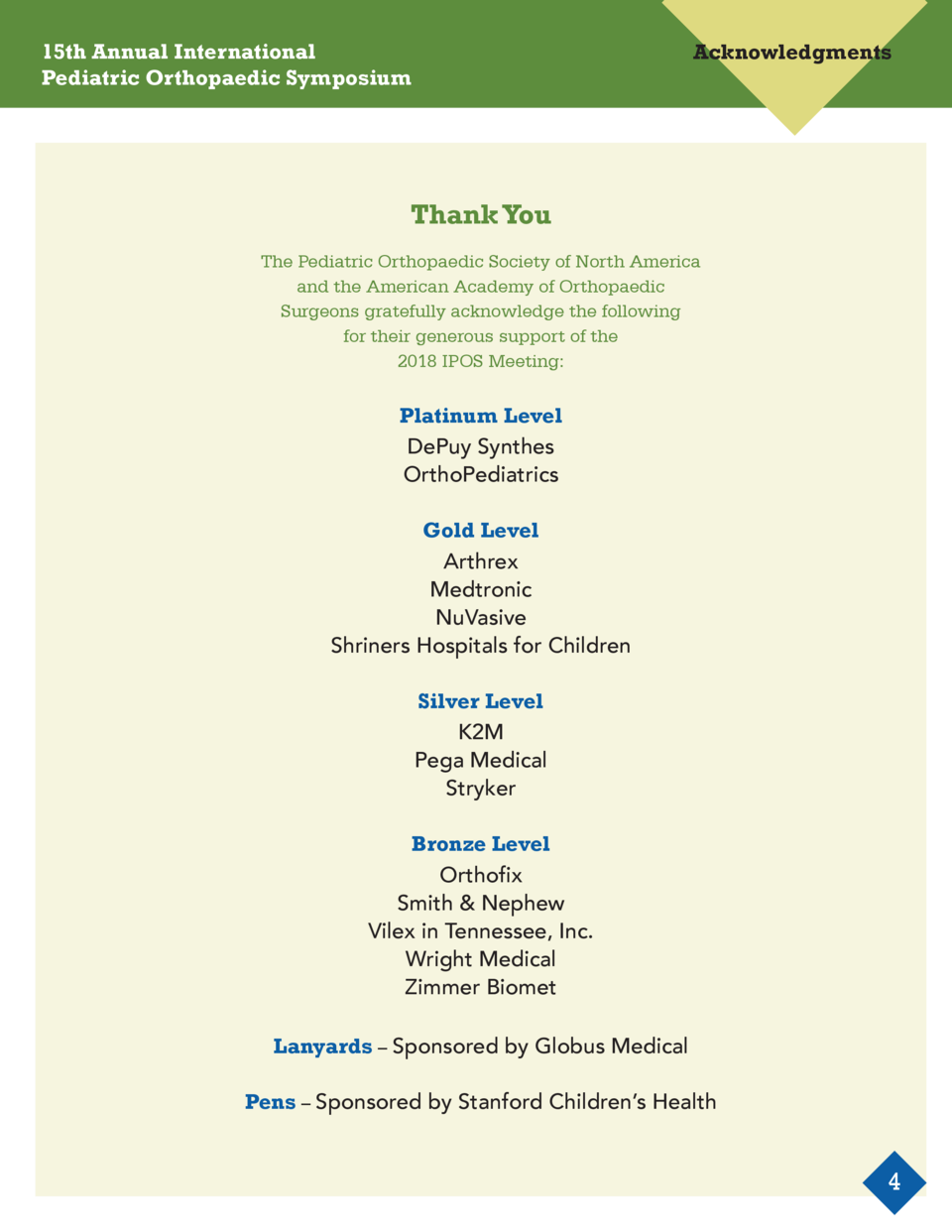 15th Annual International Pediatric Orthopaedic Symposium  Acknowledgments  Thank You The Pediatric Orthopaedic Society of...