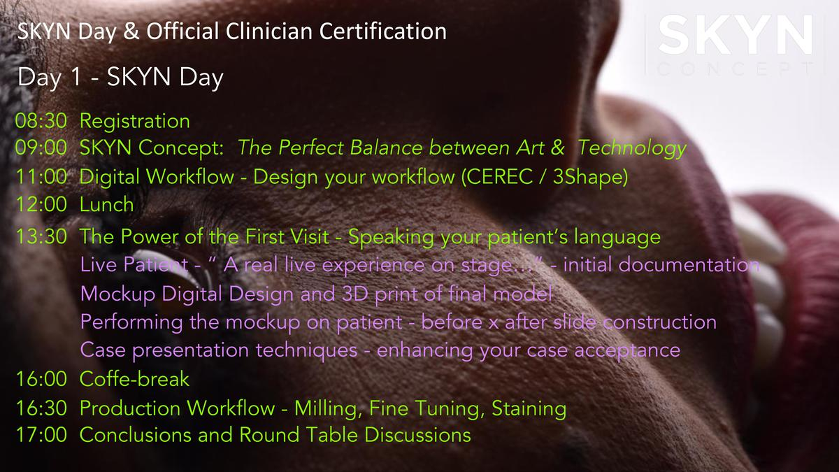SKYN Day   Official Clinician Certification Day 1 - SKYN Day 08 30 09 00 11 00 12 00  Registration SKYN Concept  The Perfe...