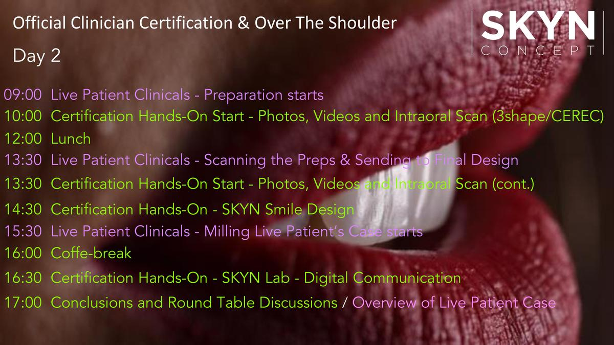 Official Clinician Certification   Over The Shoulder Day 2 09 00 10 00 12 00 13 30  Live Patient Clinicals - Preparation s...