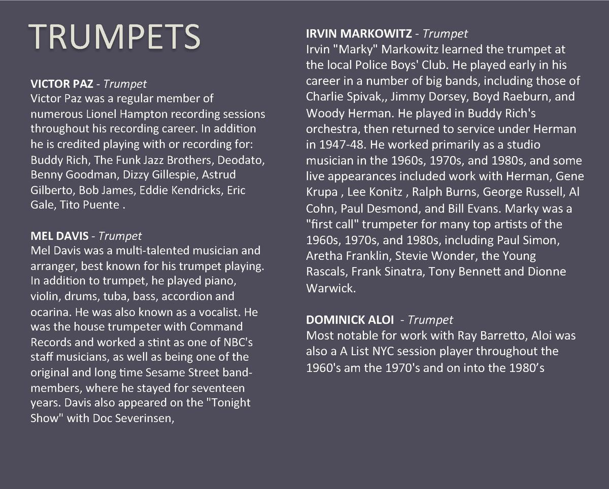 TRUMPETS  VICTOR PAZ - Trumpet  Victor Paz was a regular member of  numerous Lionel Hampton recording sessions  throughout...