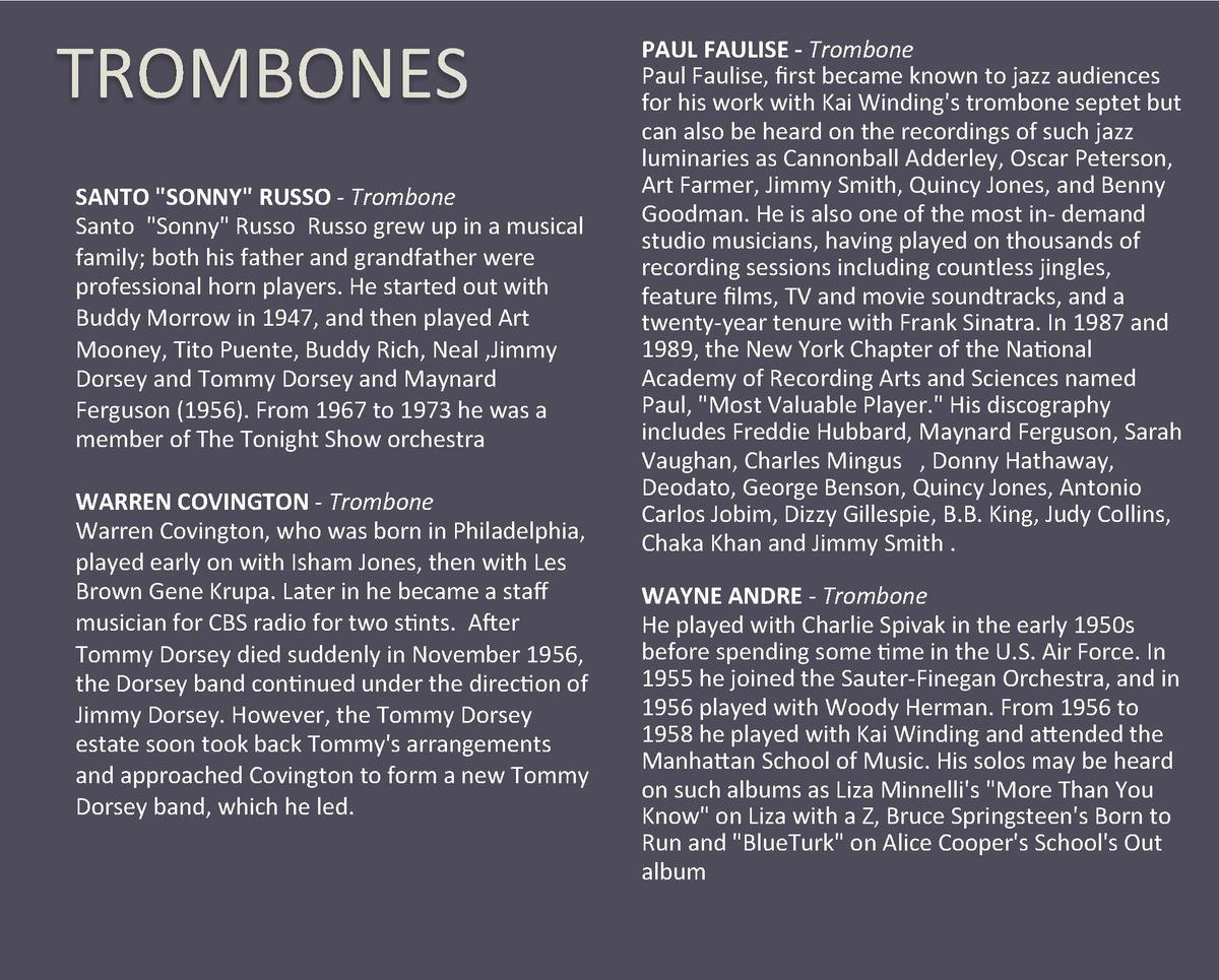 TROMBONES  SANTO  SONNY  RUSSO - Trombone  Santo   Sonny  Russo  Russo grew up in a musical  family  both his father and g...