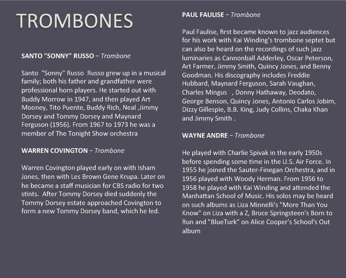 TROMBONES  SANTO  SONNY  RUSSO     Trombone    Santo   Sonny  Russo  Russo grew up in a musical  family  both his father a...