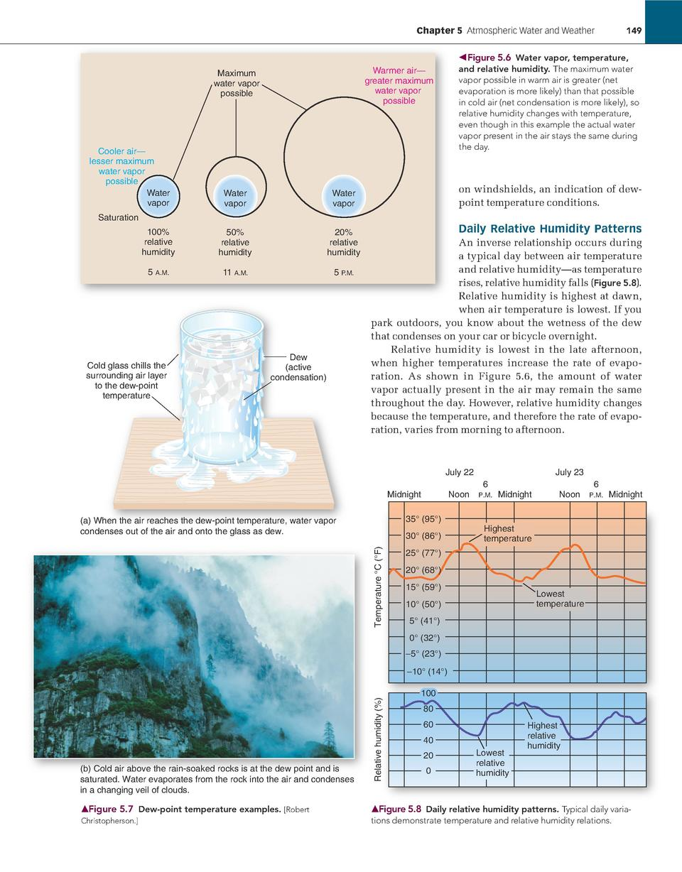 Chapter 5    Atmospheric Water and Weather             149  Cooler air    lesser maximum water vapor possible Water vapor ...