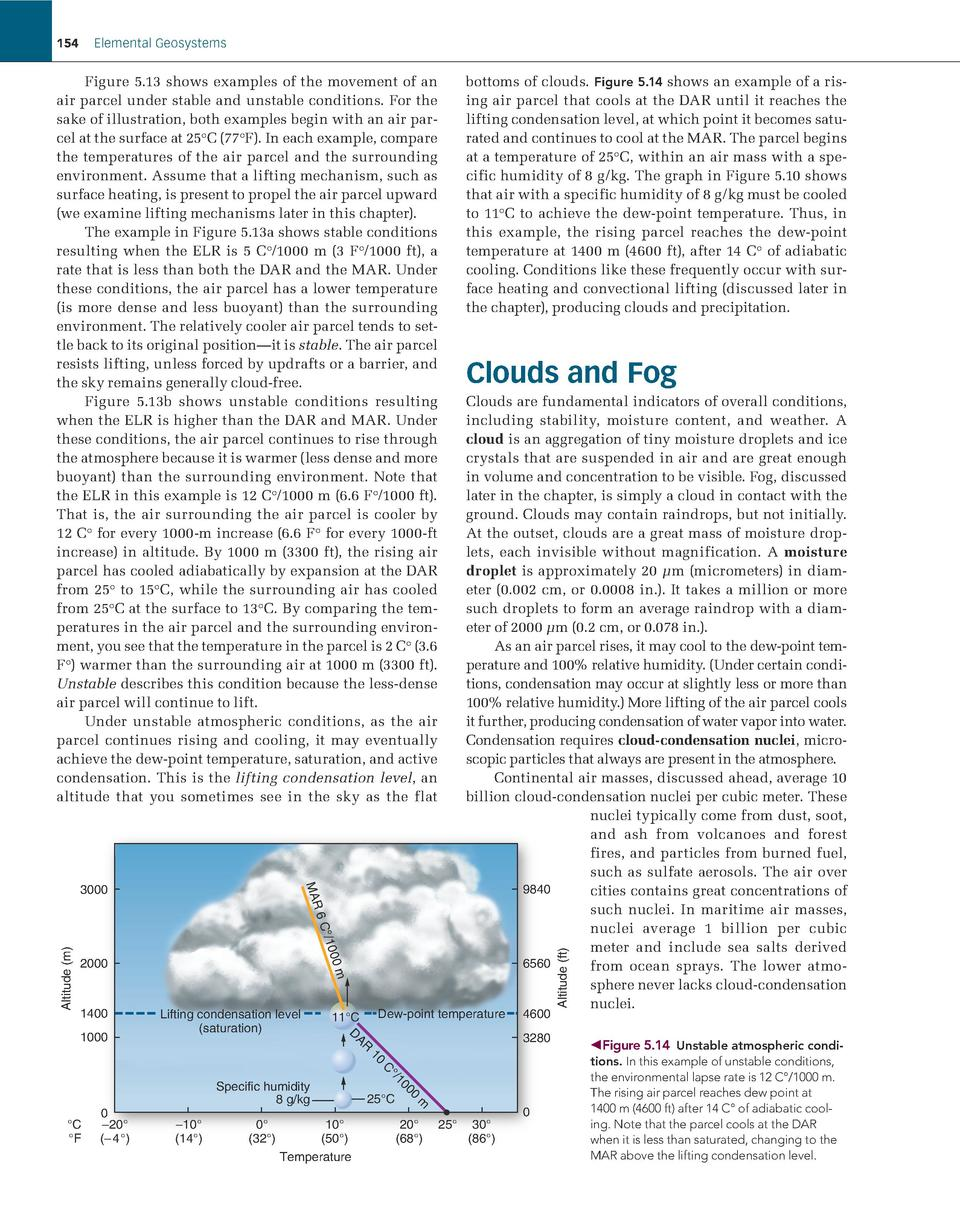 154  Elemental Geosystems     ottoms of clouds. Figure 5.14 shows an example of a risb ing air parcel that cools at the DA...