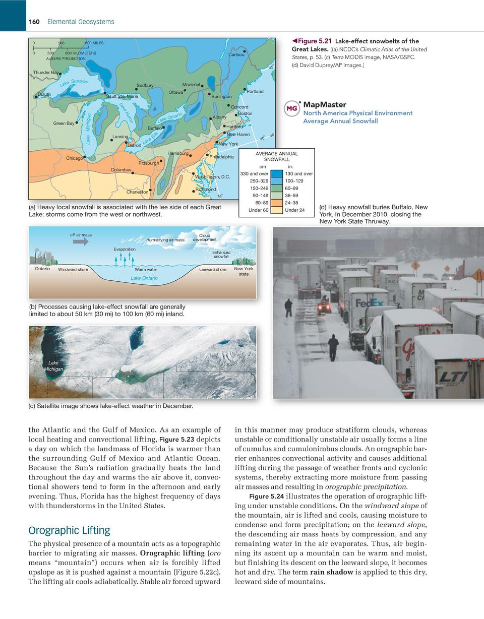 160  Elemental Geosystems 0 0        Figure 5.21    Lake-effect snowbelts of the  600 MILES  300  300 600 KILOMETERS ALBER...
