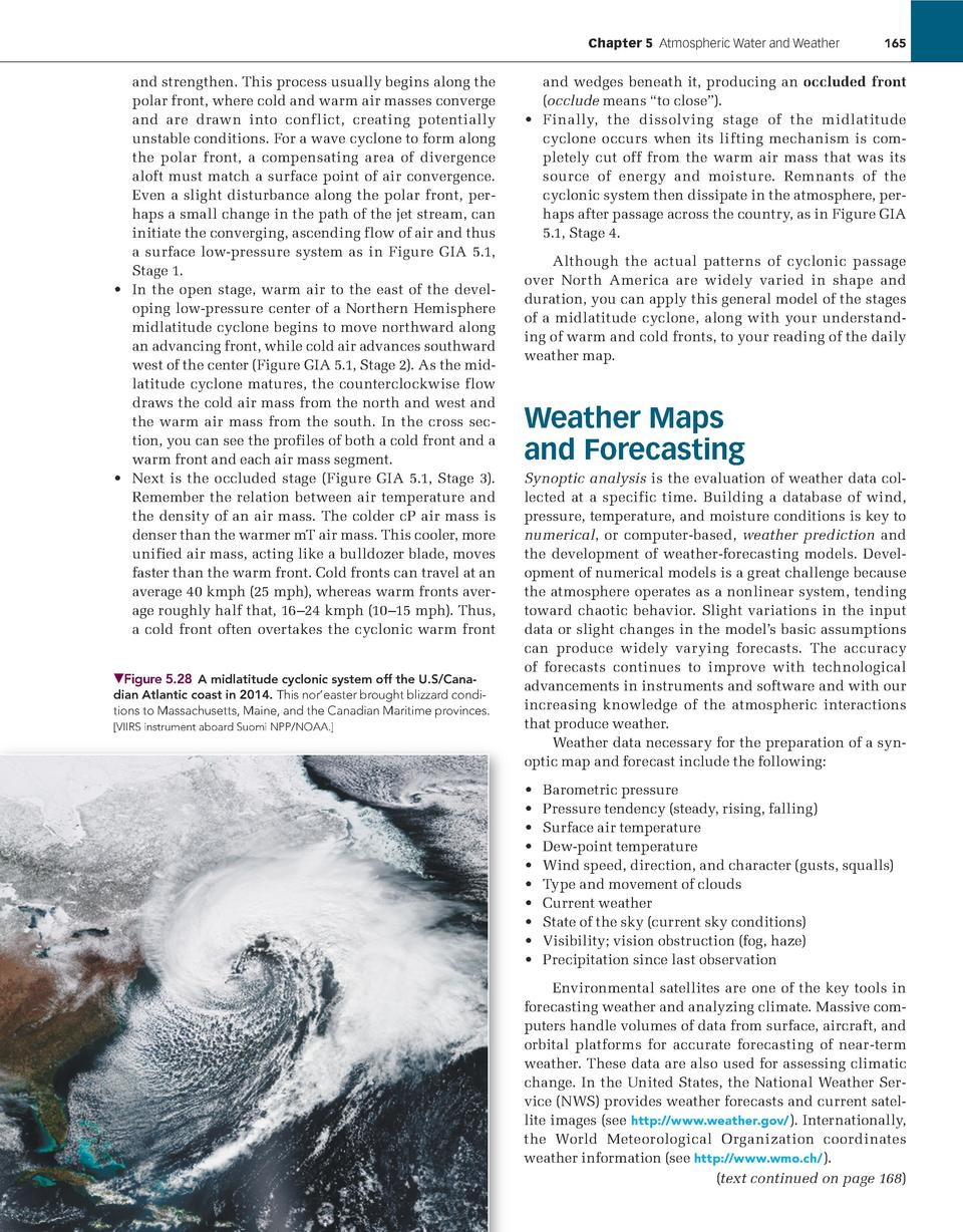 Chapter 5    Atmospheric Water and Weather             165  and strengthen. This process usually begins along the polar fr...