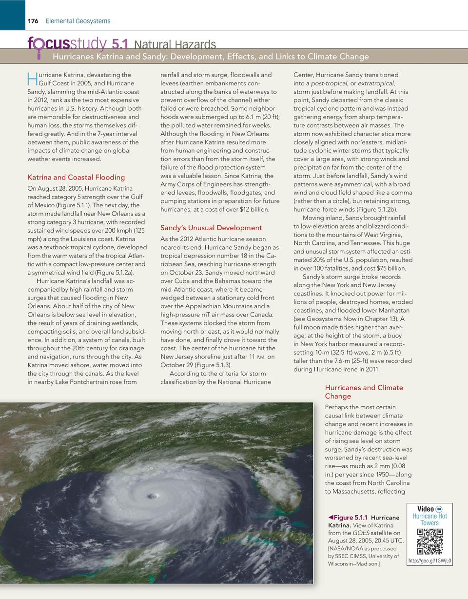 176  Elemental Geosystems  f cusstudy 5.1    Natural Hazards  Hurricanes Katrina and Sandy  Development, Effects, and Link...