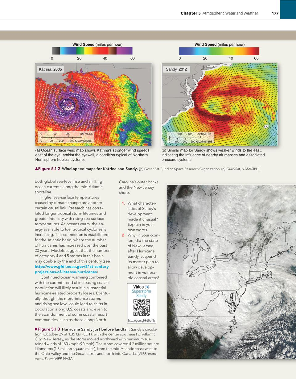 Chapter 5    Atmospheric Water and Weather             177  Wind Speed  miles per hour  0  20  40  Wind Speed  miles per h...
