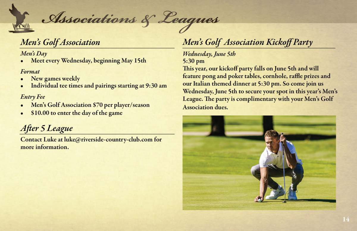 Associations   Leagues  Associations   Leagues  Ladies    Thursday League     18 Holes  Ladies    Beginner Series  Men   s...