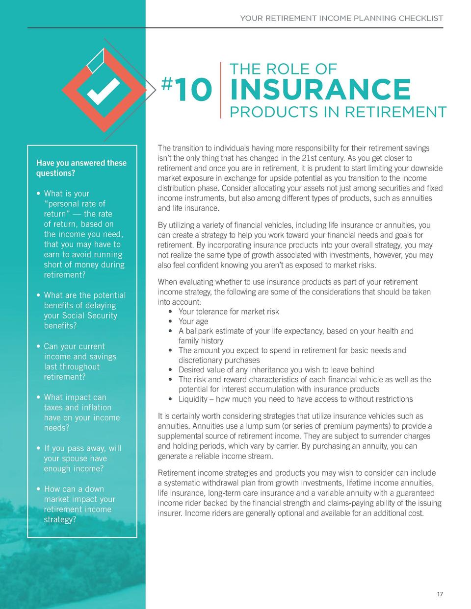 YOUR RETIREMENT INCOME PLANNING CHECKLIST     YOUR RETIREMENT INCOME PLANNING CHECKLIST  9 STRATEGIES DISTRIBUTION  Saving...