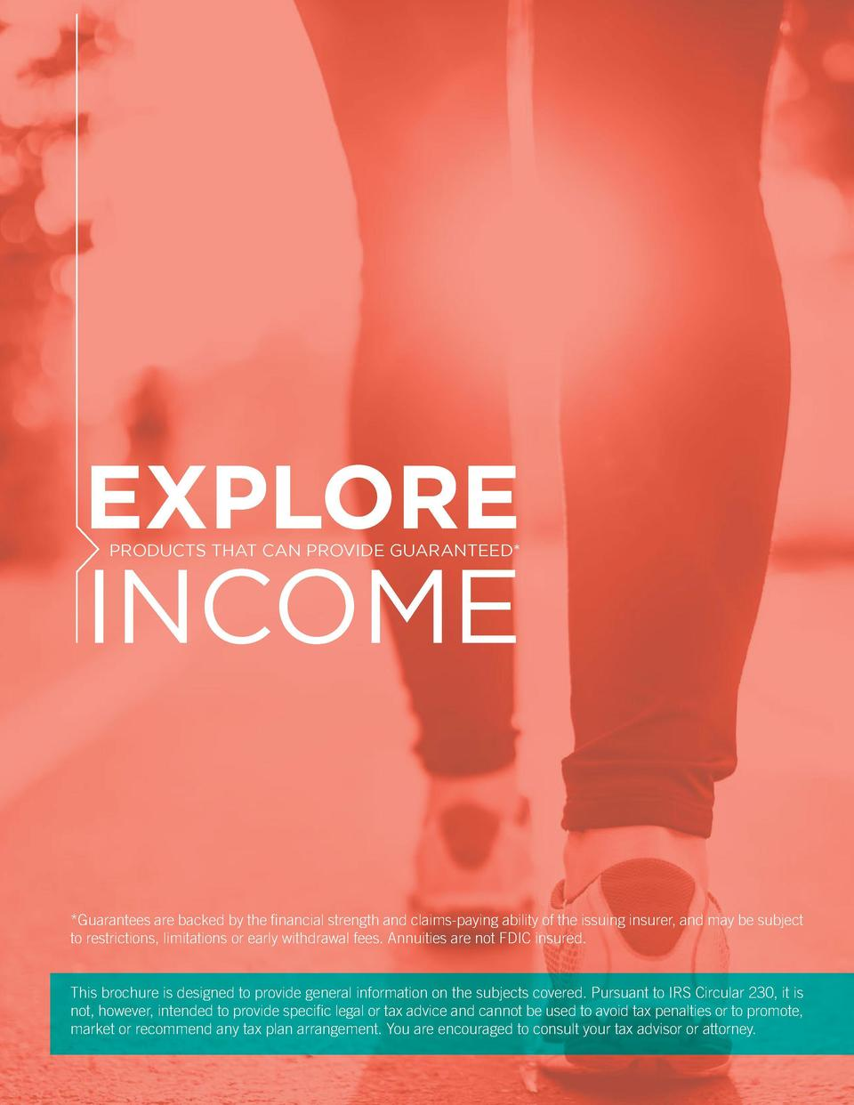 TABLE OF CONTENTS  EXPLORE PRODUCTS THAT CAN PROVIDE GUARANTEED   INCOME  Executive summary   2   1  Plan for a long life ...