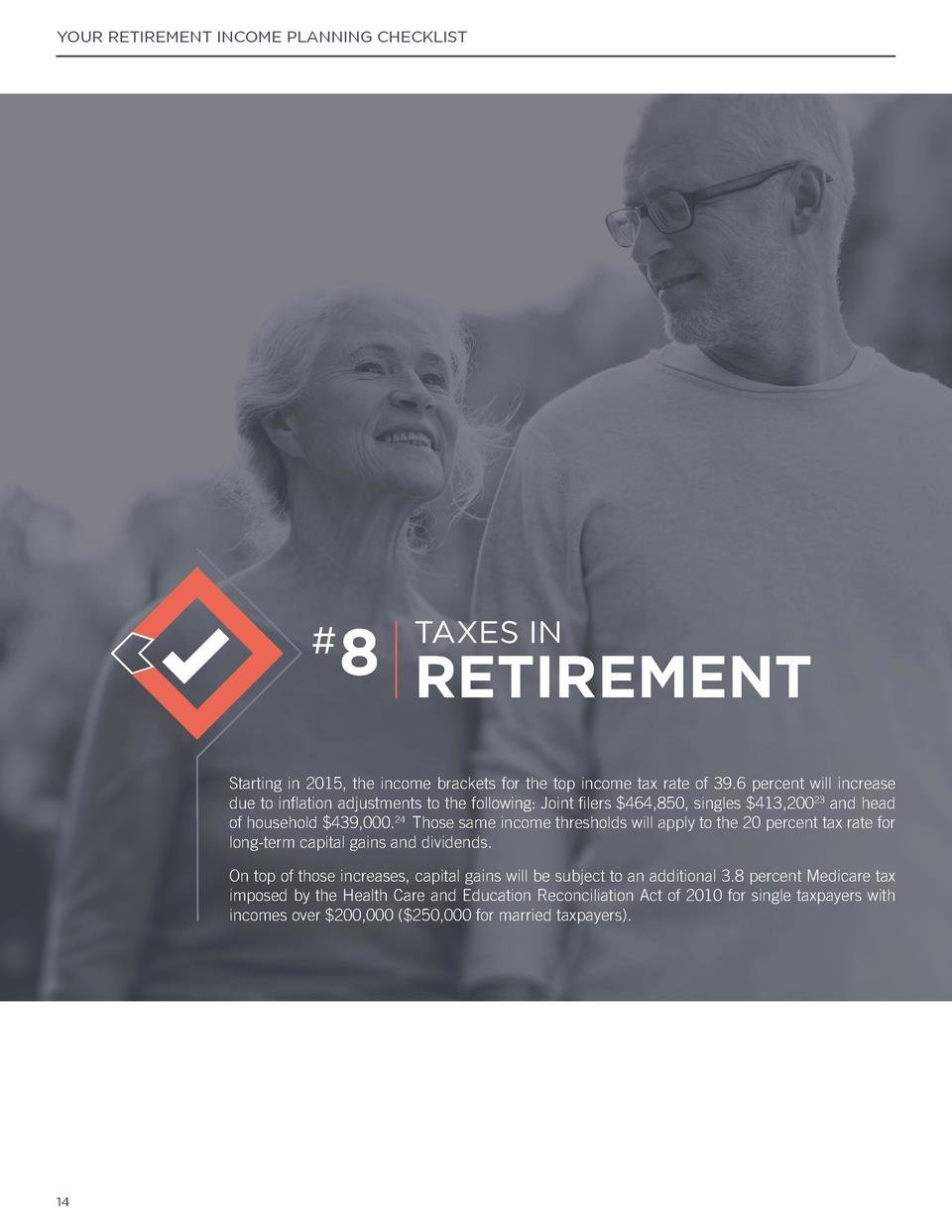 YOUR RETIREMENT INCOME PLANNING CHECKLIST  YOUR RETIREMENT INCOME PLANNING CHECKLIST  Social Security  Are you eligible fo...