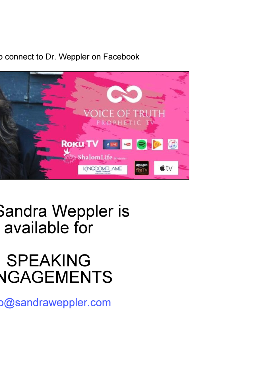 ADVERTISMEN T  Dr Sandra Weppler Ministries CONTACT  Click banner to connect to Dr. Weppler on Facebook  1575 Highland Roa...