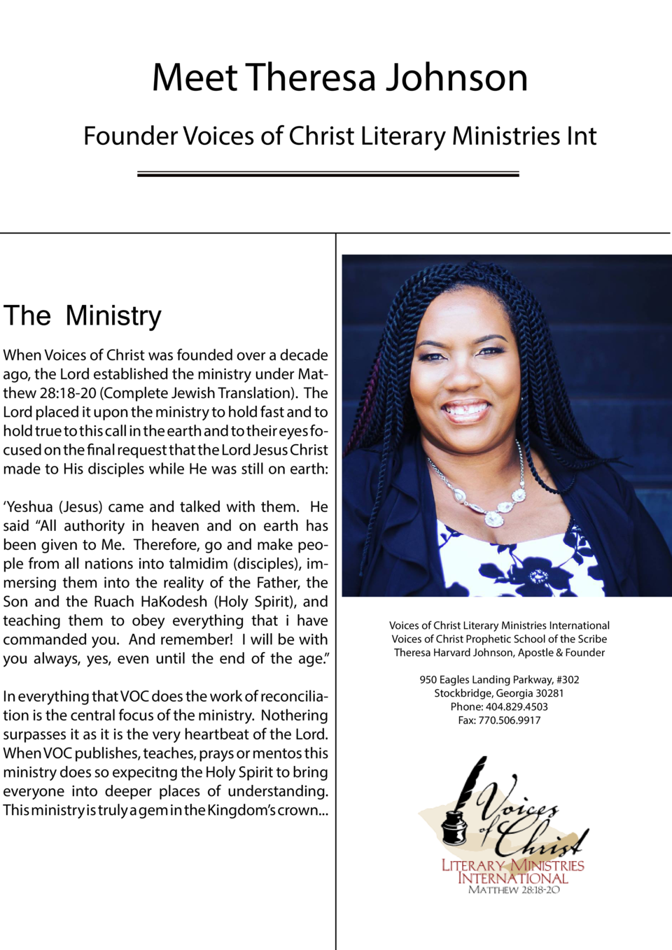 Meet Theresa Johnson Founder Voices of Christ Literary Ministries Int  The Ministry  Editor-in-Chief Karin McBride-Chenowe...