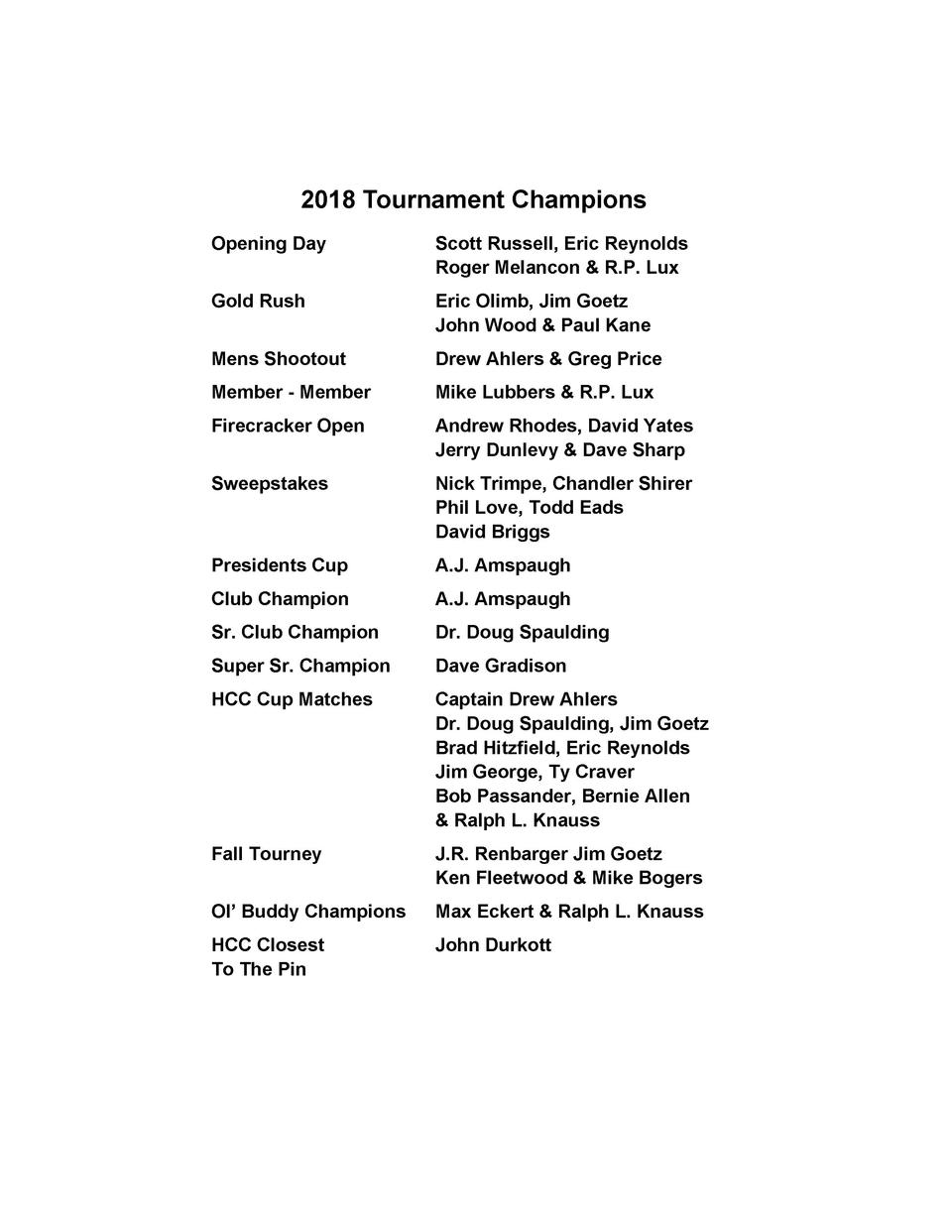 2018 Tournament Champions Opening Day  Scott Russell, Eric Reynolds Roger Melancon   R.P. Lux  Gold Rush  Eric Olimb, Jim ...