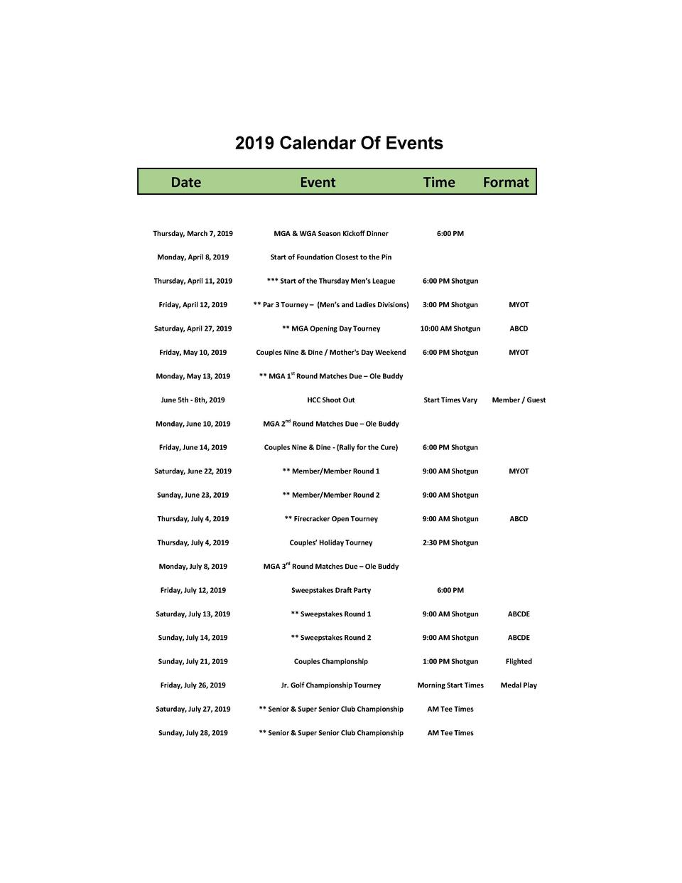 2019 Calendar Of Events Date    Event    Time    Format    Thursday,  March  7,  2019    MGA     WGA  Season  Kicko     Di...