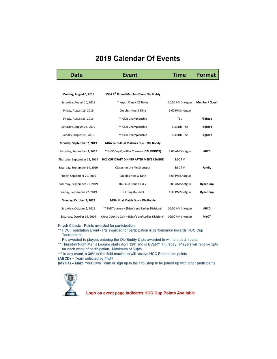 2019 Calendar Of Events Date    Event    Time    Format    Monday,  August  5,  2019    MGA  4th  Round  Matches  Due     ...