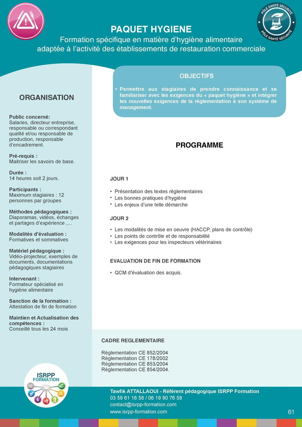 PAQUET HYGIENE   Formation sp  cifique en mati  re d   hygi  ne alimentaire adapt  e    l   activit   des   tablissements ...